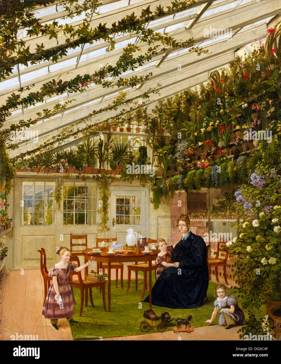 The Family of Mr. Westfal in the Conservatory - by Eduard Gaertner, 1836 - Stock Image