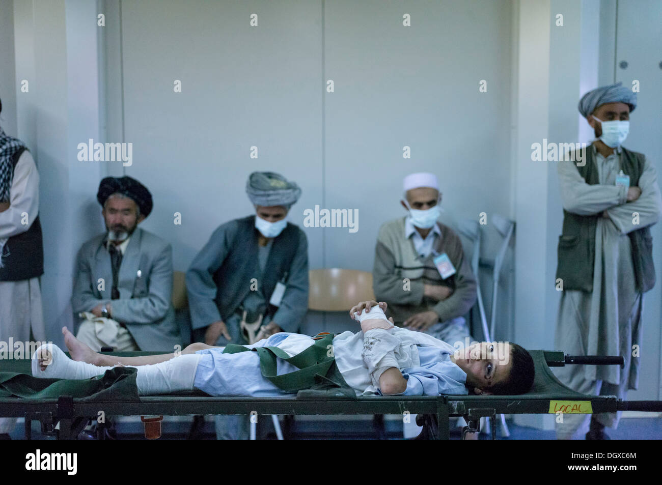 Afghan boy, patient in the field hospital of PRT Feyzabad operated by the German Army, Feyzabad, Feyzabad, Badakhshan - Stock Image