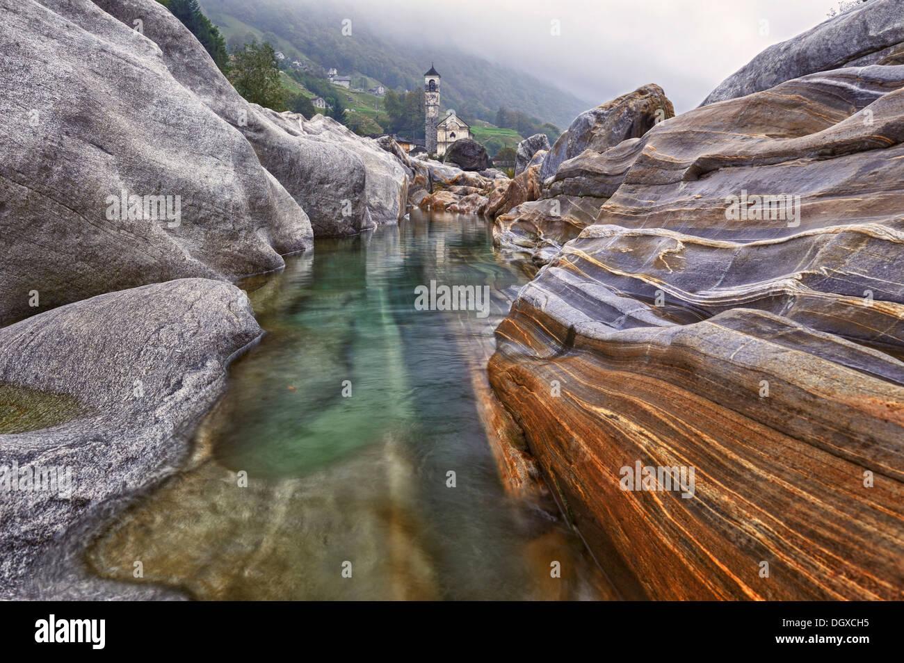 Abraded stones with river water, Lavertezzo, Valle Verzasca, Verzasca Valley, Ticino, Switzerland, Europe Stock Photo