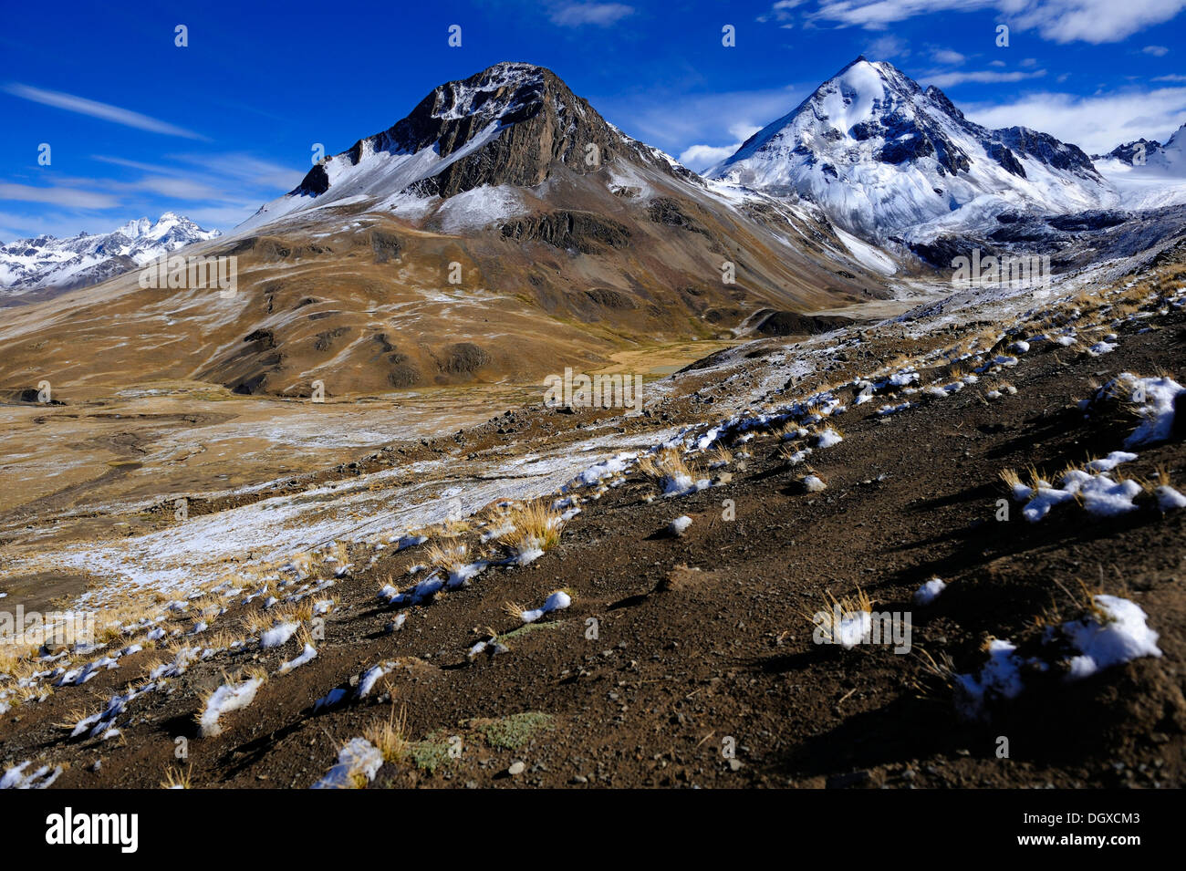 Snow Covered Andes Mountains With A High Plateau At Sunrise La Paz Stock Photo Alamy