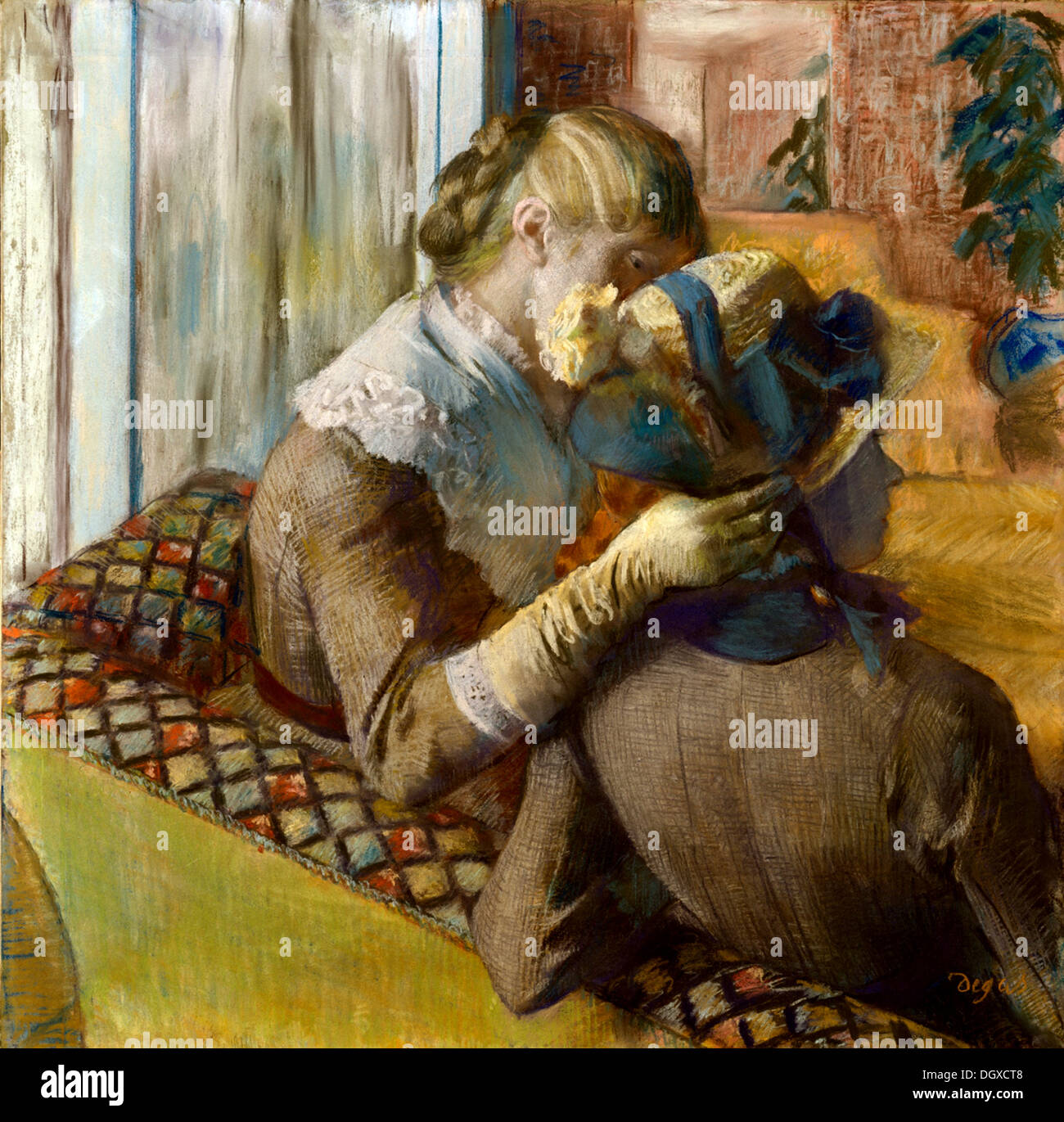 At the Milliner's - by Edgar Degas, 1881 - Stock Image
