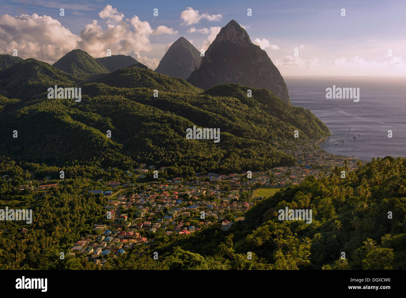 Gros Piton and Petit Piton, volcanic cores, in front of the village of Soufrière, Soufrière, Pitons-Schutzgebiet, Stock Photo