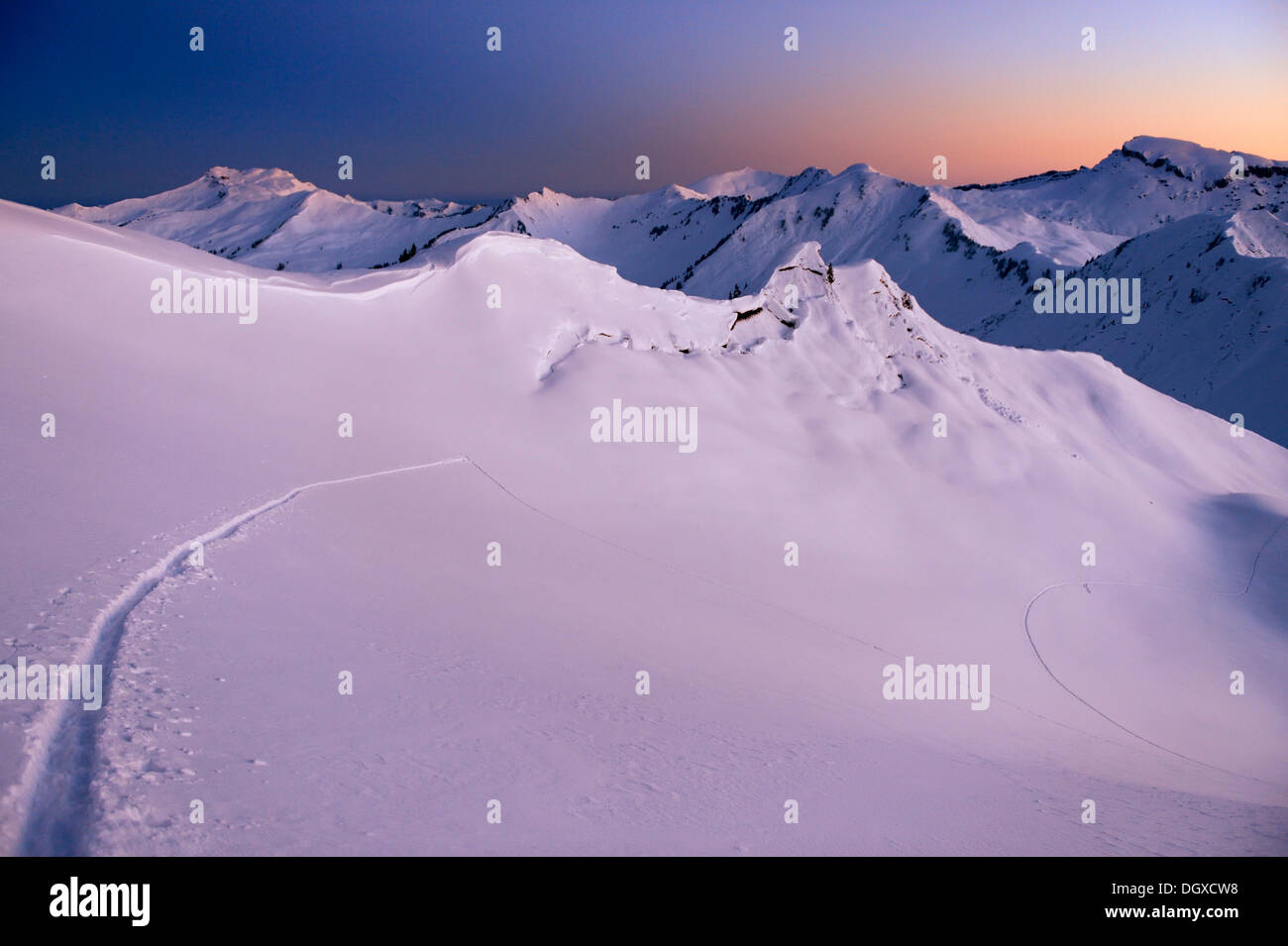 Mountain landscape with ski tracks in the pristine snow at dawn, Baad, Kleinwalsertal, Vorarlberg, Austria Stock Photo