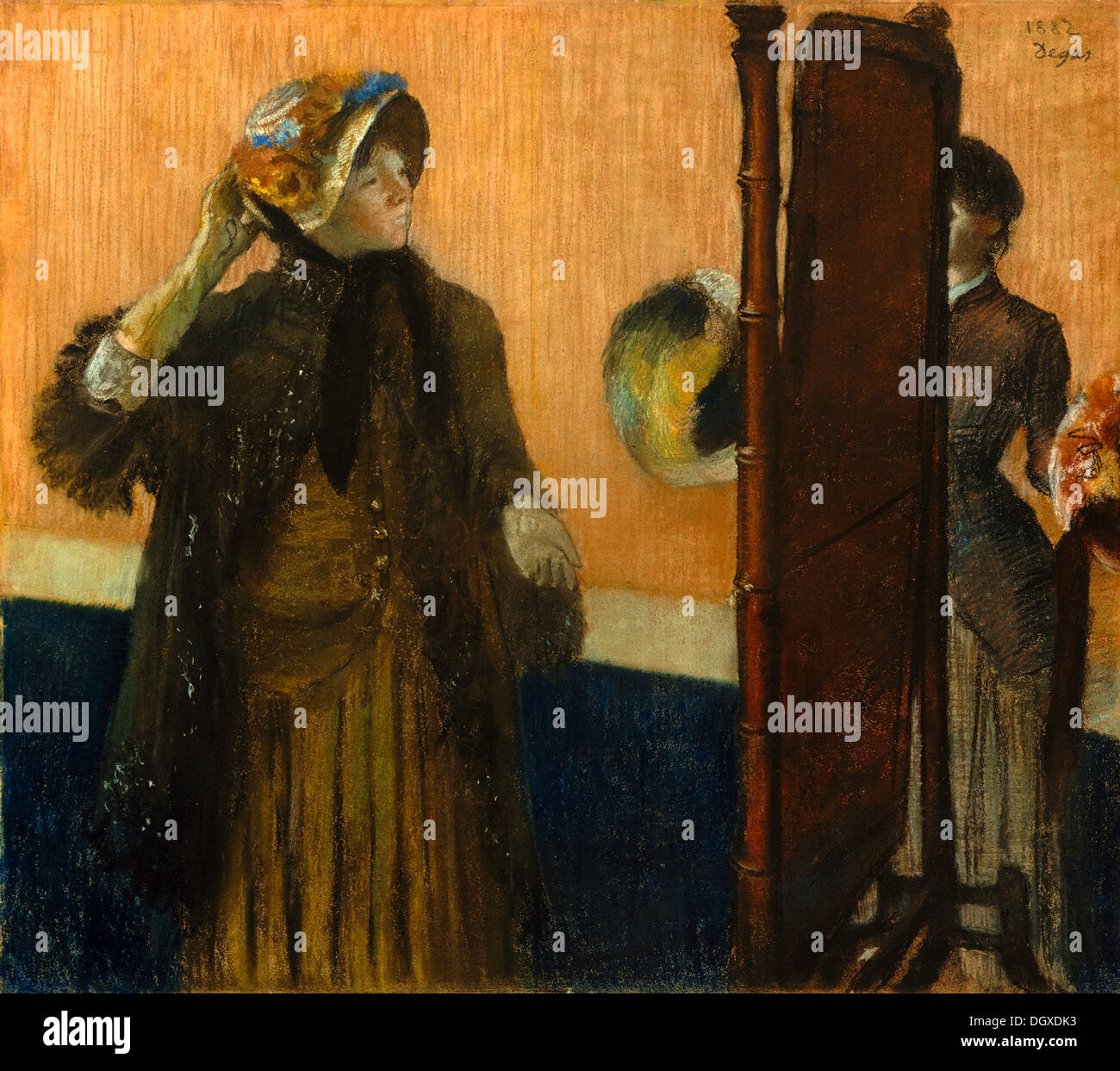 At the Milliner's - by Edgar Degas, 1882 - Stock Image