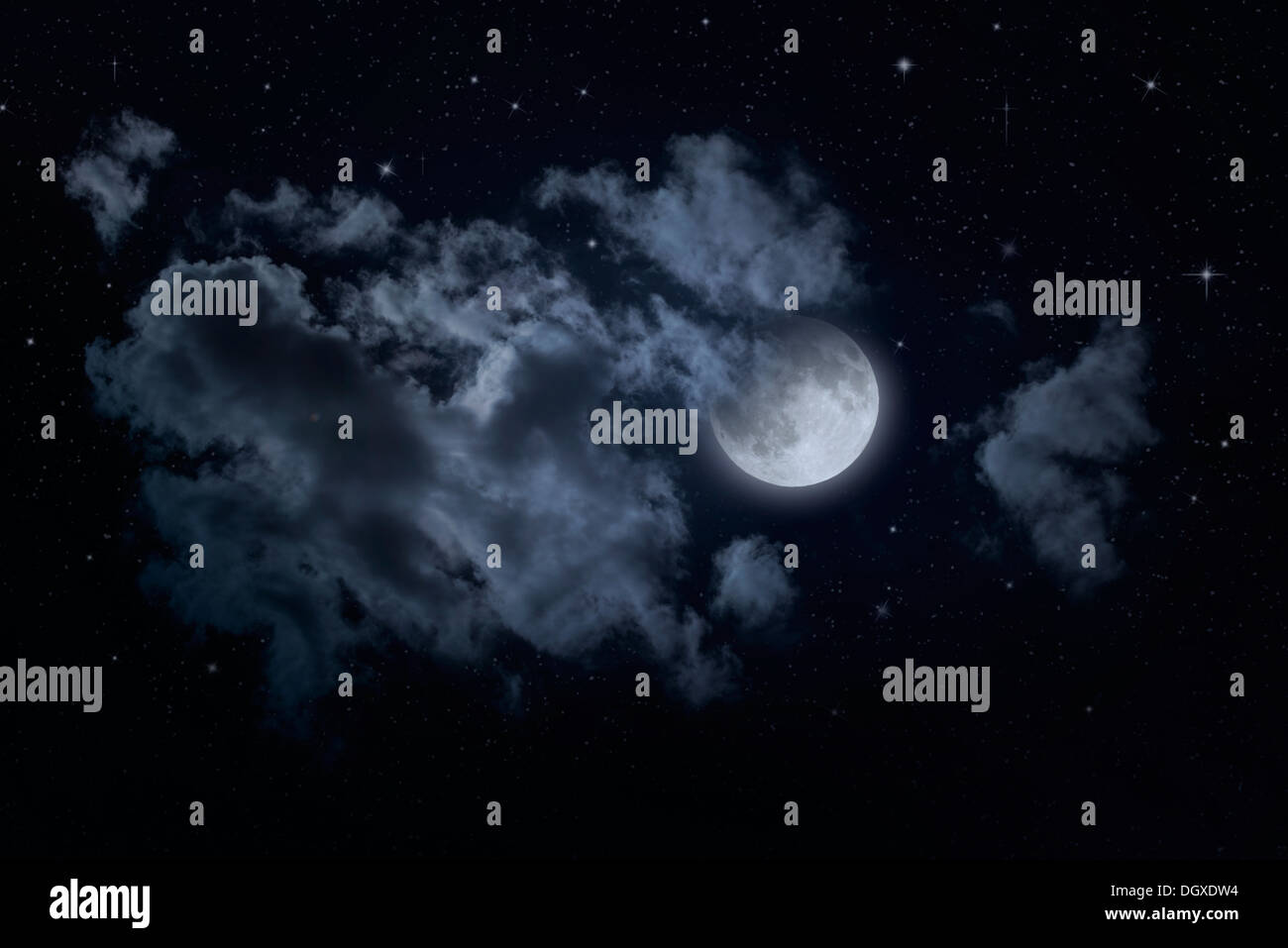 Night starry sky and moon. Night cloudy sky. Halloween background - Stock Image