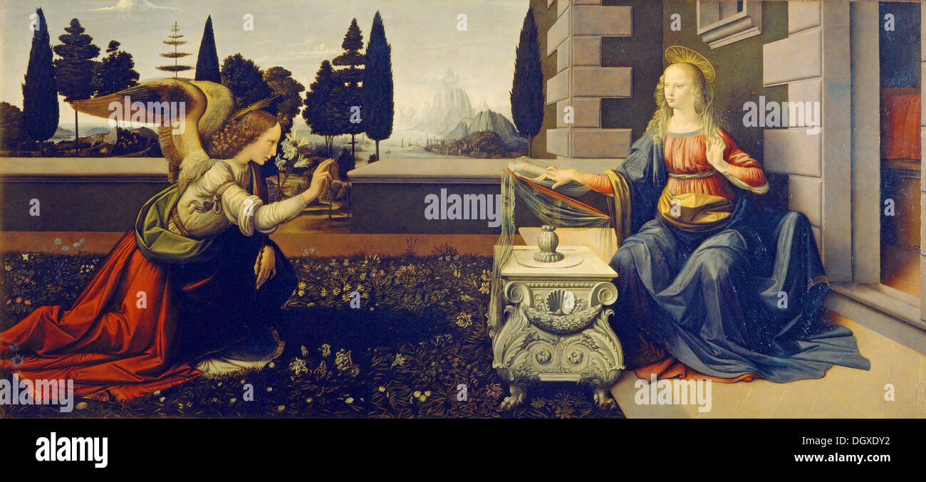 Annunciation - by Leonardo da Vinci, 1480 - Stock Image