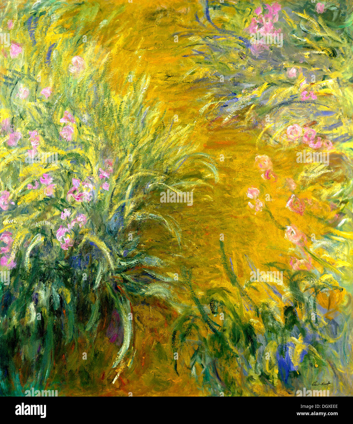 The Path Through The Irises - by Claude Monet, 1917 - Stock Image