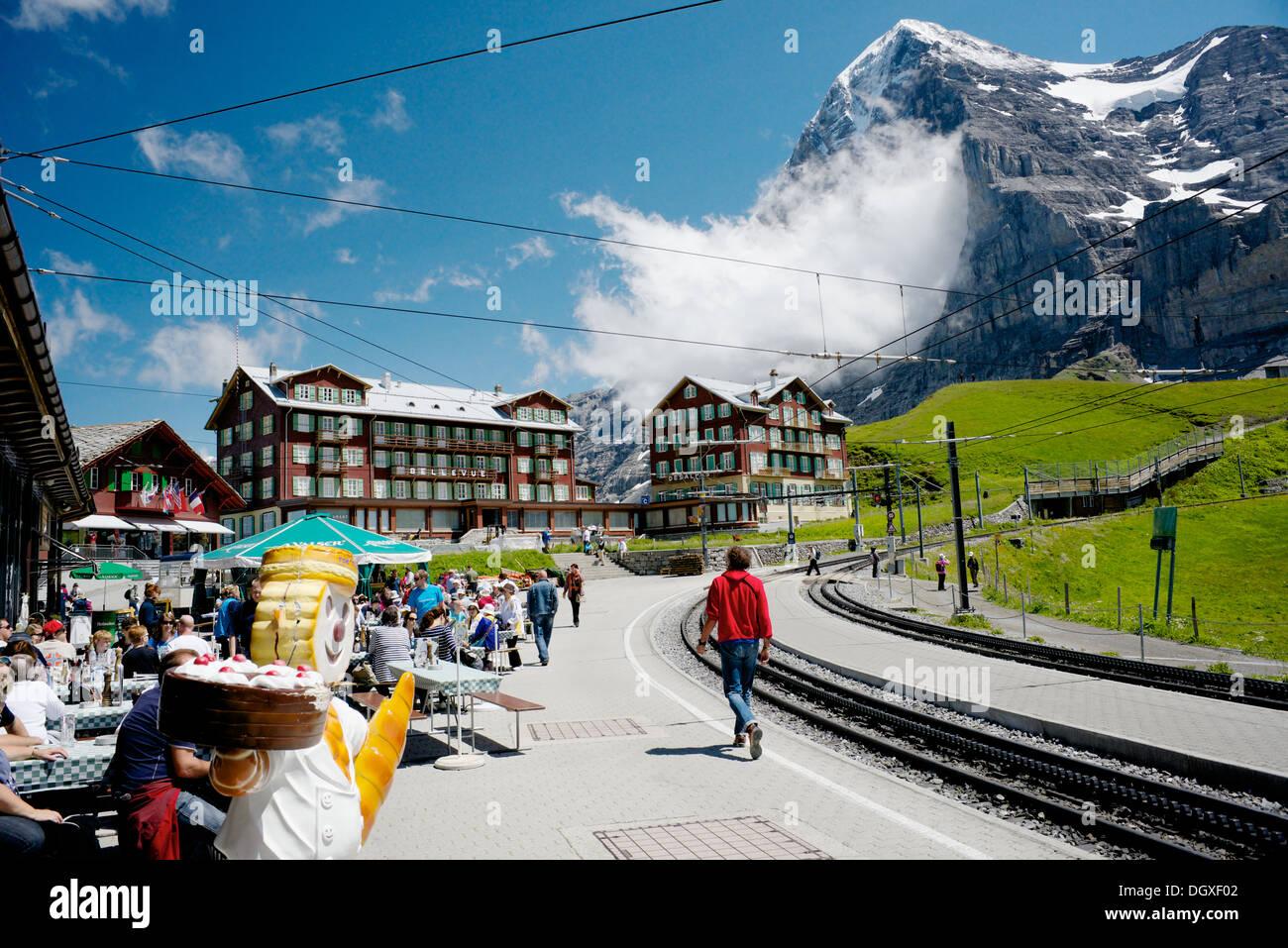 Kleine Scheidegg and the eiger - Stock Image