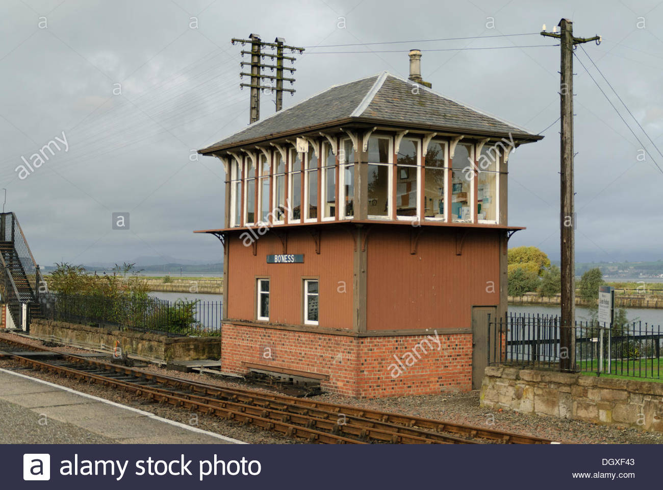 Bo'ness,UK. Sunday, October 27, 2013. Signal Box at Bo'ness and Kinneil Railway station. Hundreds of people turned out for the 'Steam 'n' Scream' Halloween weekend organised by the Scottish Railway Preservation Society at Bo'ness and Kinneil Railway Credit:  Roger Gaisford/Alamy Live News - Stock Image