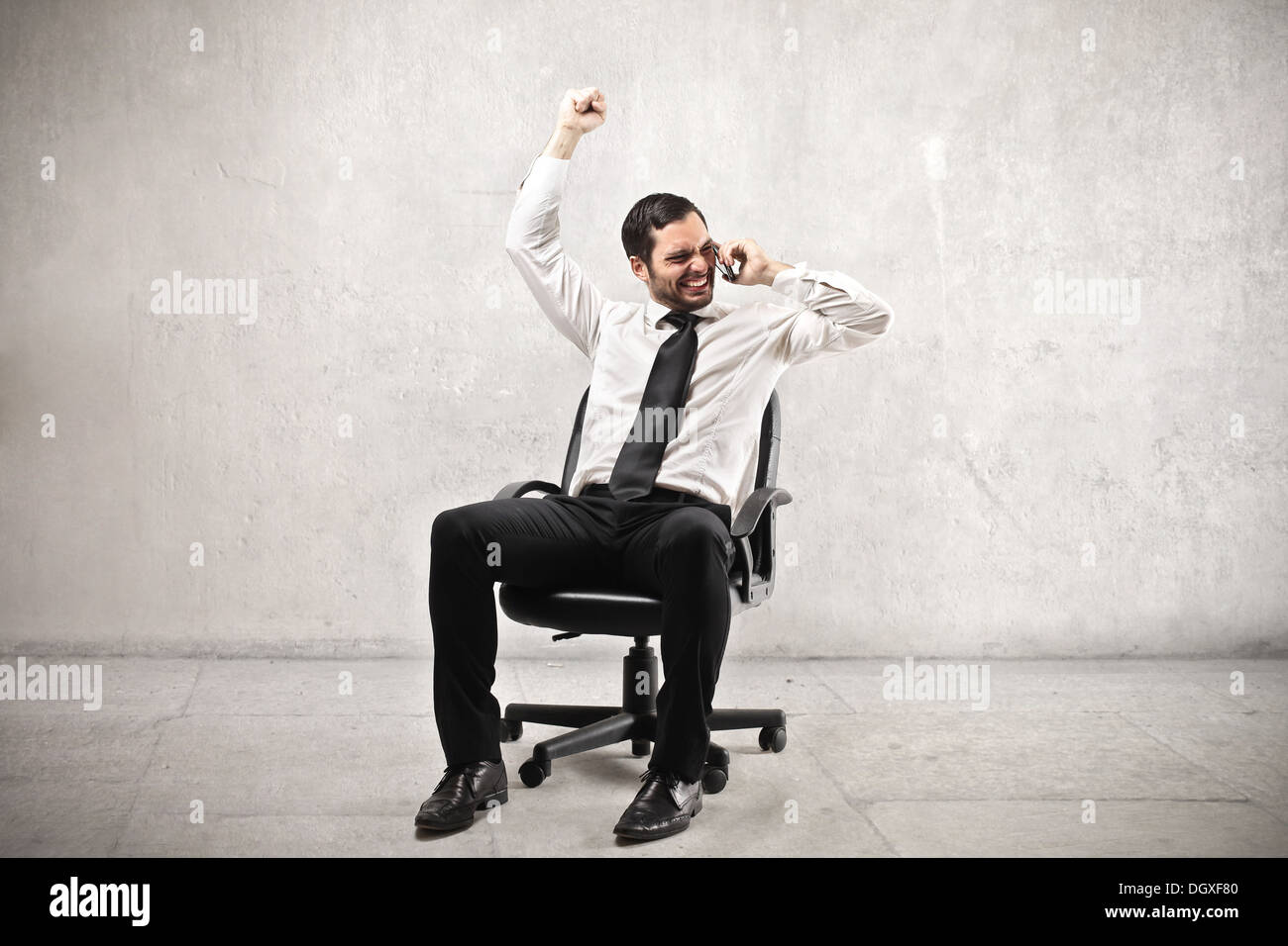 Businessman rejoicing - Stock Image