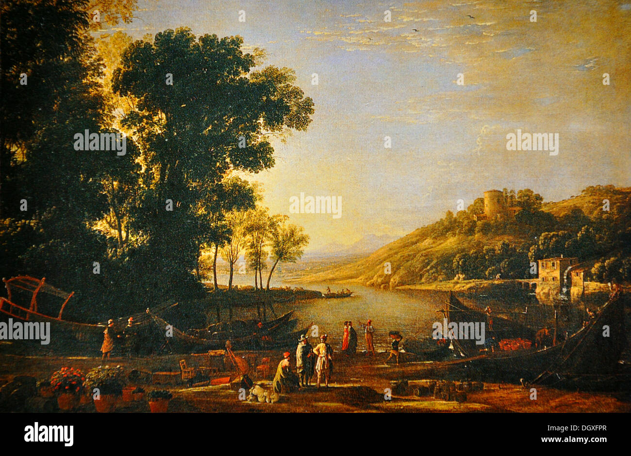 Landscape with Merchants - by Claude Lorrain, 1630 - Stock Image