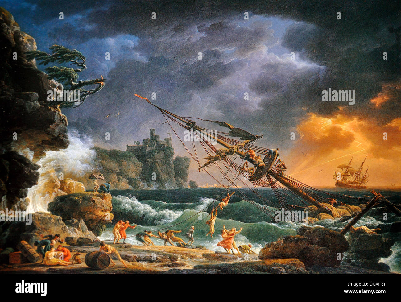The Shipwreck - by Claude-Joseph Vernet, 1772 - Stock Image