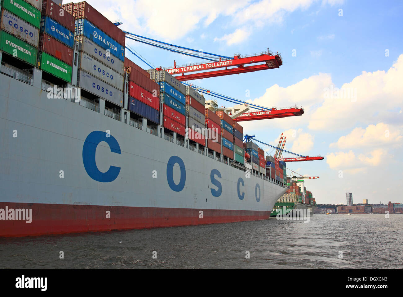 "Container ship ""Cosco"" being unloaded, container port, Port of Hamburg, Hamburg Stock Photo"