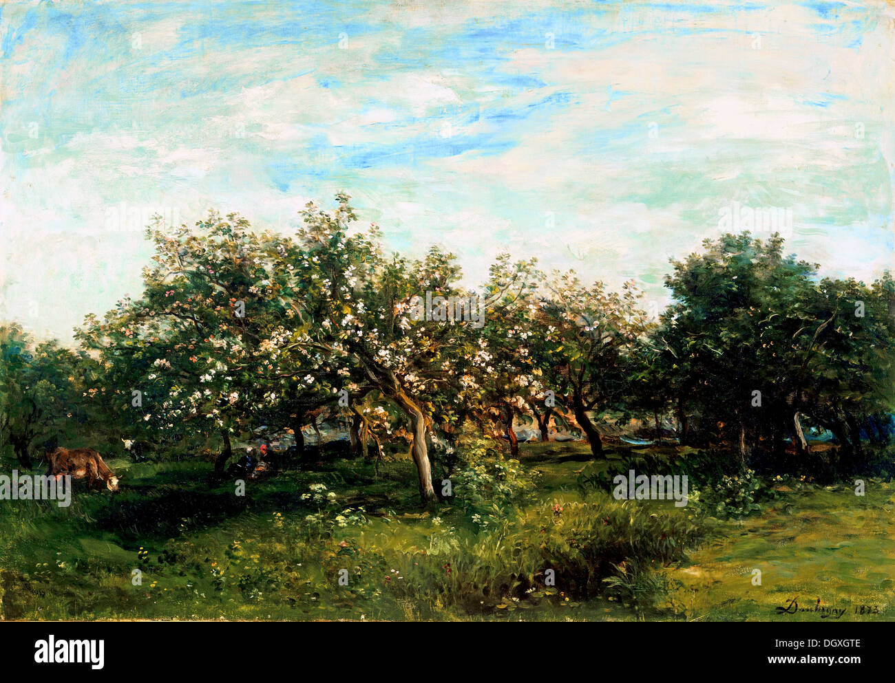 Apple Blossoms - by Charles-François Daubigny, 1873 - Stock Image