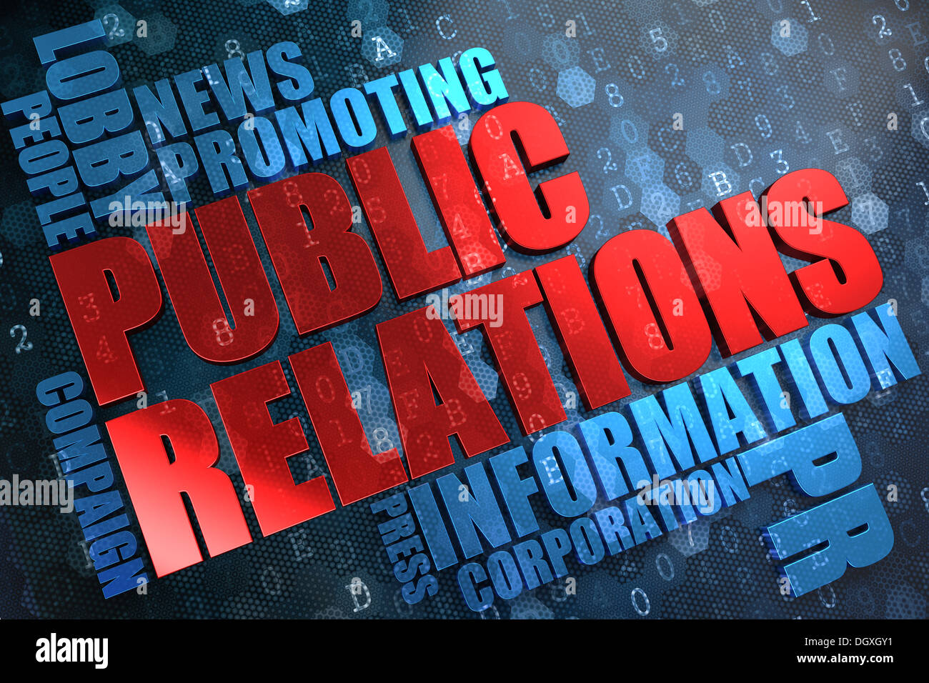 Public Relations. Wordcloud Concept. - Stock Image