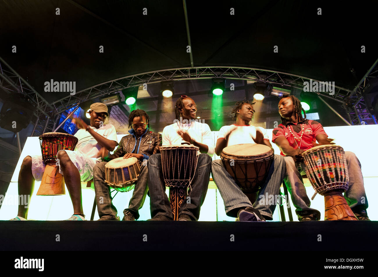 A group of musicians from Senegal giving a spontaneous concert at the closing party of the Munich Film Festival in Munich - Stock Image