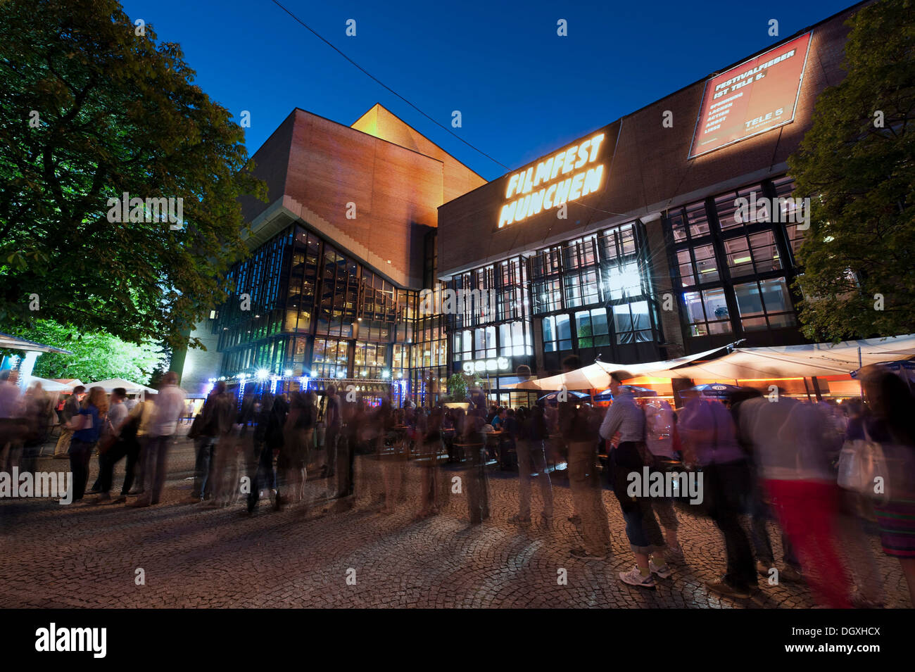 People during the Munich Film Festival in front of the event center Gasteig in Munich, Bavaria - Stock Image