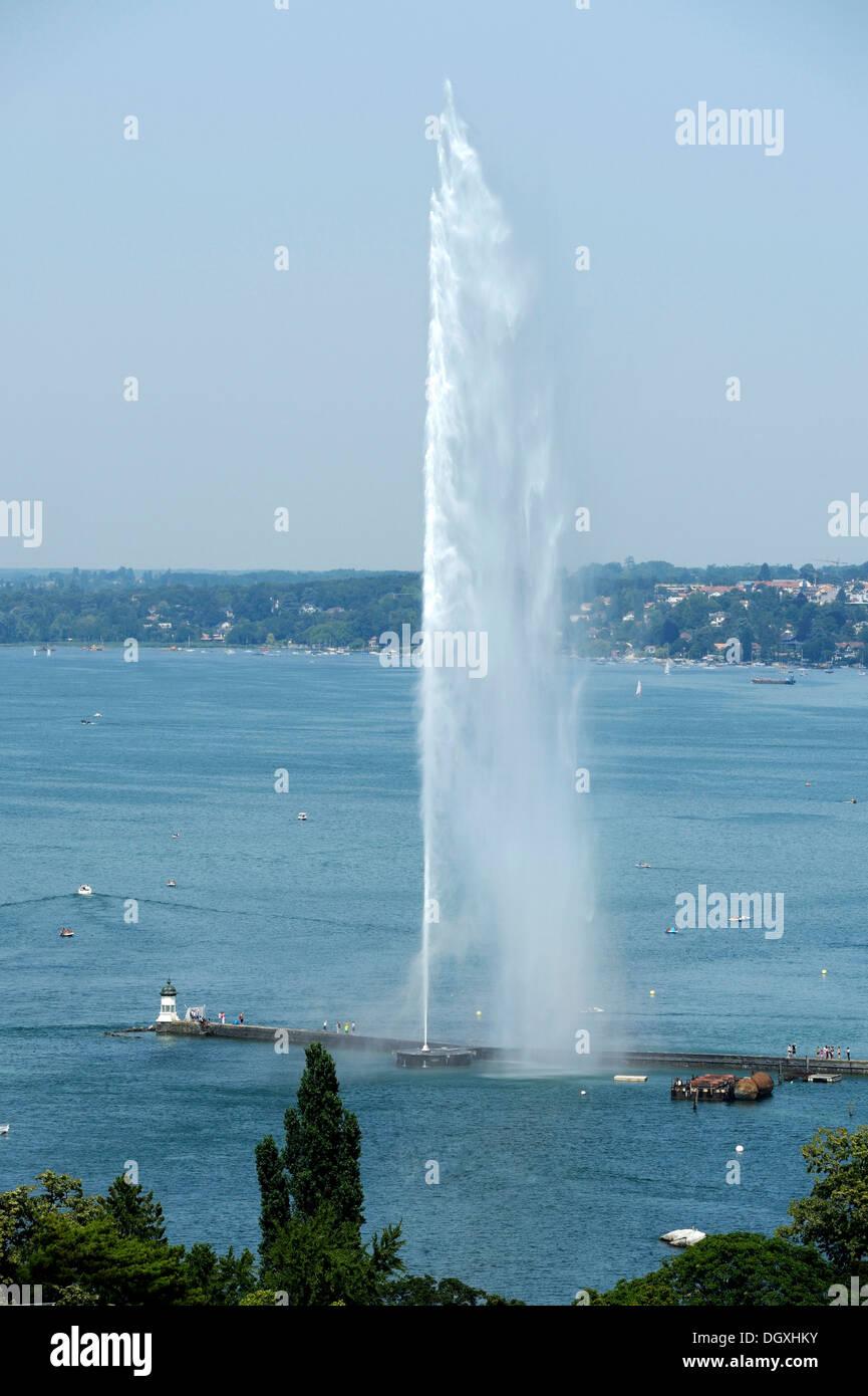 Lake Geneva with the Jet d'Eau, Geneva, Switzerland, Europe - Stock Image