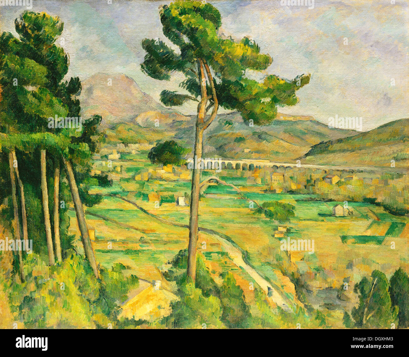 Mont Sainte-Victoire and the Viaduct of the Arc River Valley - by Paul Cézanne, 1885 - Stock Image