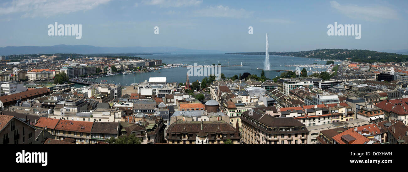 Panoramic view of Geneva with Lake Geneva and the Jet d'Eau, Geneva, Switzerland, Europe - Stock Image