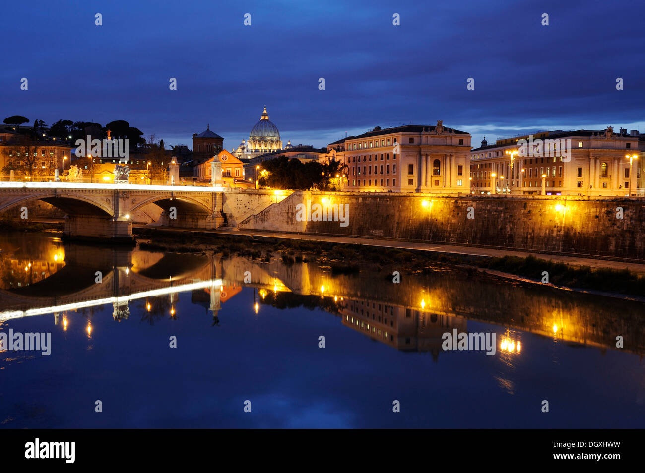 Ponte Vittorio Emmanuel II over the Tiber river at dusk, Vatican, Rome, Italy, Europe Stock Photo