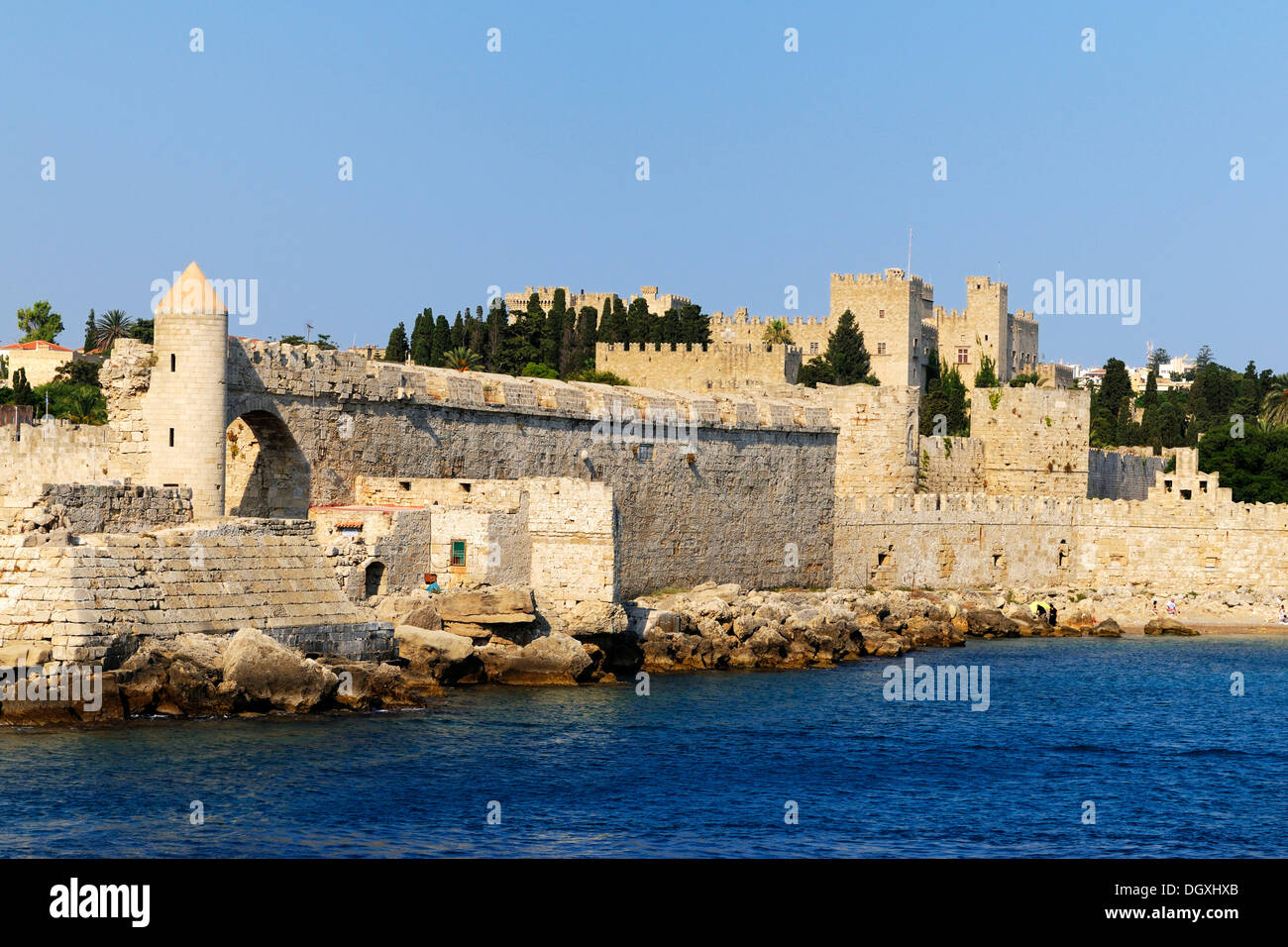 Port of Rhodes Town, Rhodes island, Greece, Europe - Stock Image