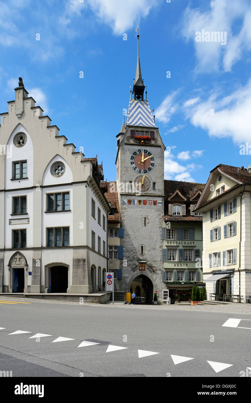 Zytturm tower and an old customs hosue, old town of Zug, Central Switzerland, Switzerland, Europe - Stock Image