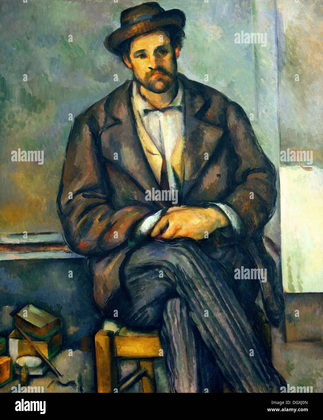 Seated Peasant - by Paul Cézanne, 1896 - Stock Image