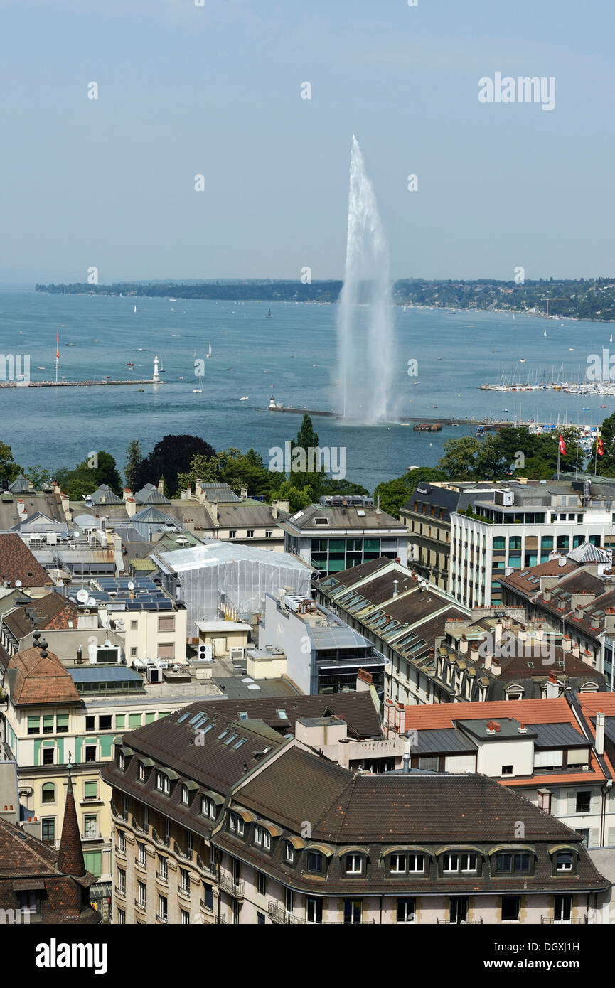 View of Lake Geneva with the Jet d'Eau, Geneva, Switzerland, Europe - Stock Image