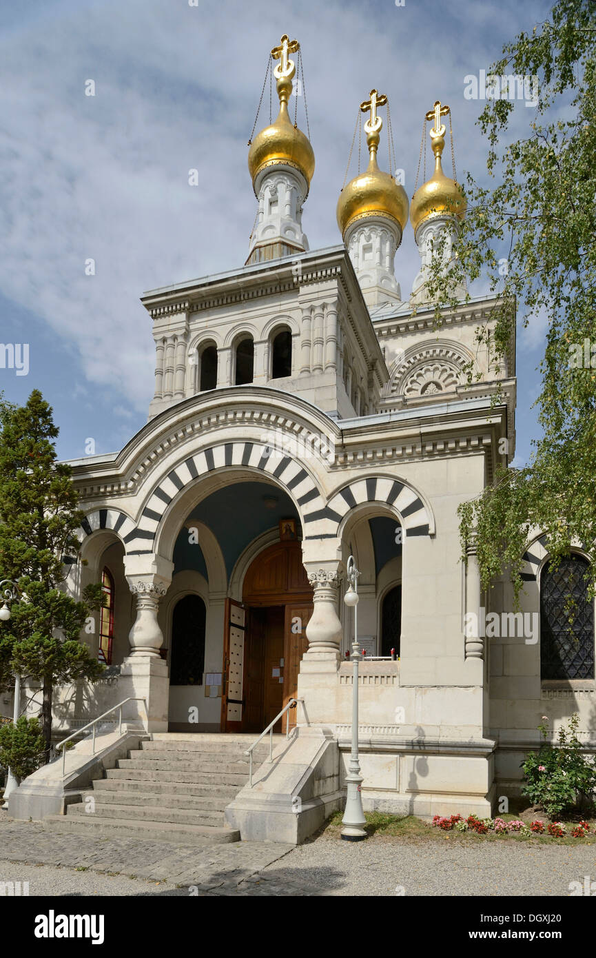 Gilded onion domes of the Russian Orthodox Church, Geneva, Switzerland, Europe - Stock Image