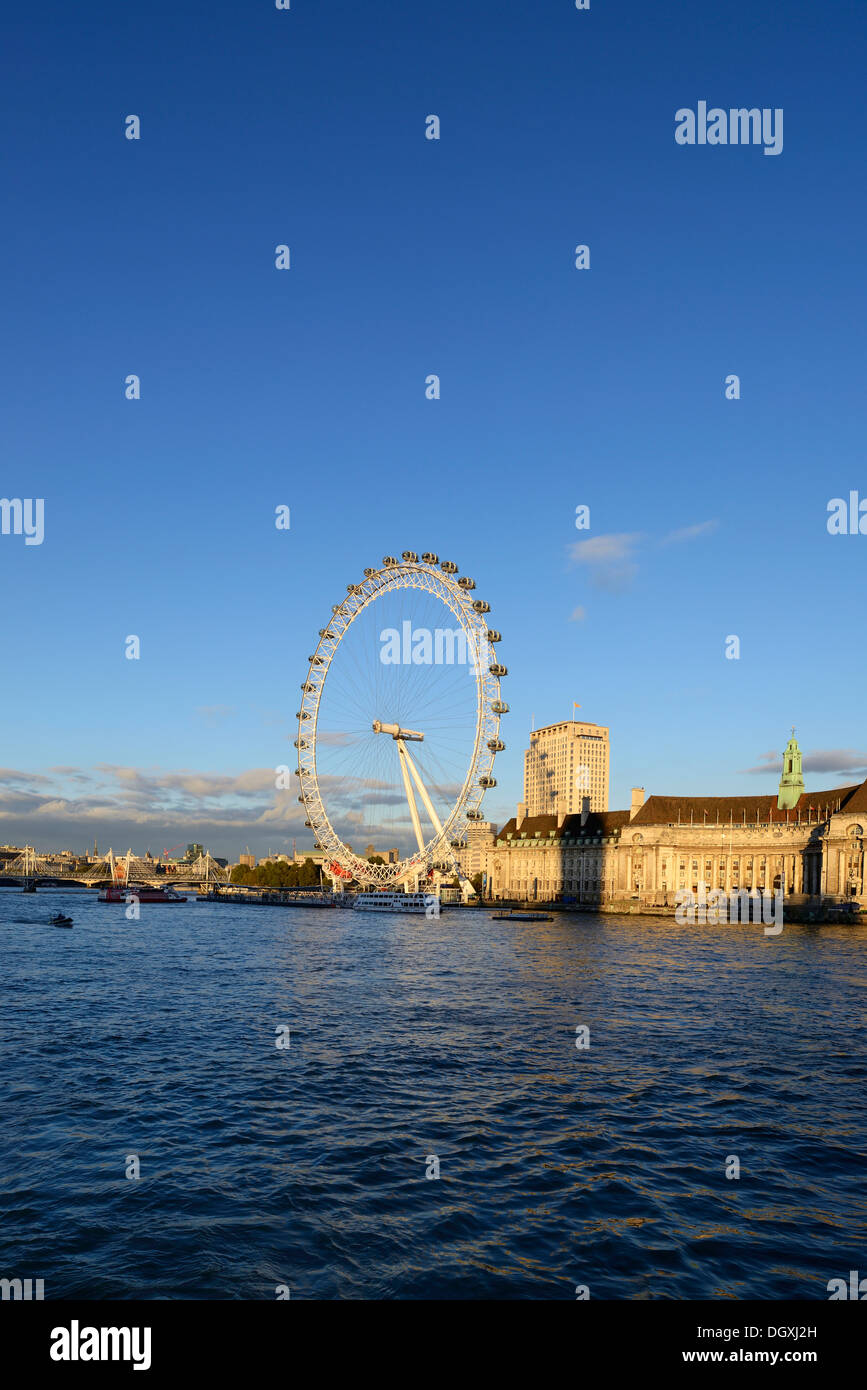 Tourist attraction, London Eye on the River Thames, London, England, United Kingdom, Europe - Stock Image