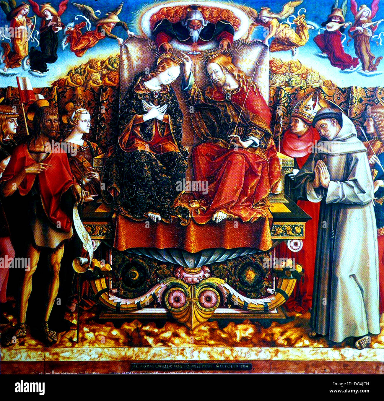 Coronation of the Virgin - by Carlo Crivelli, 1493 - Stock Image