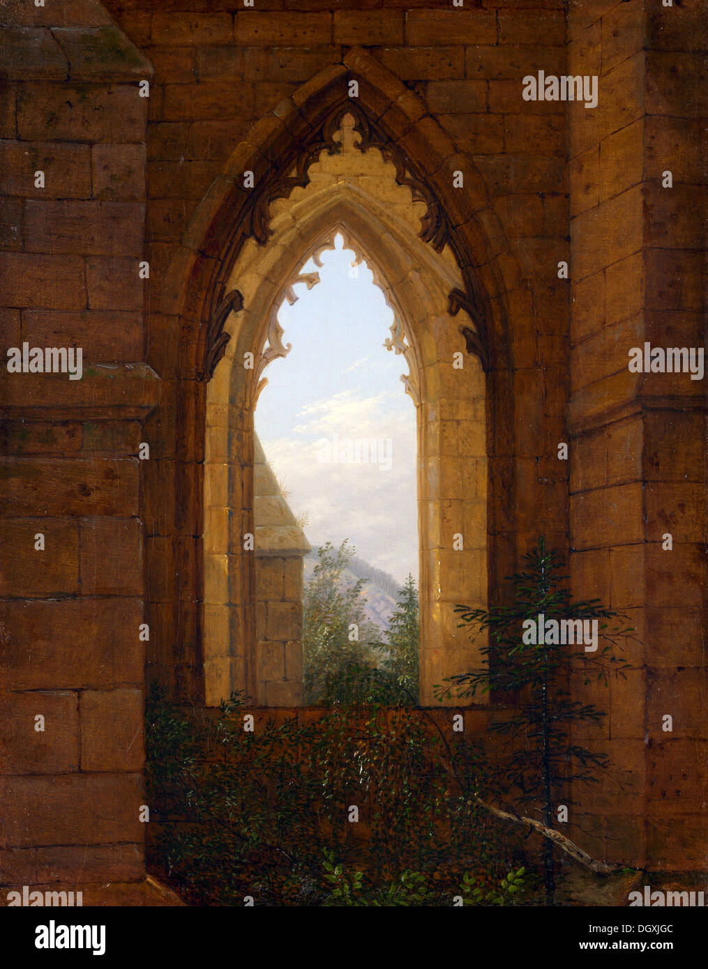 Gothic Windows in the Ruins of the Monastery at Oybin - by Carl Gustav Carus, 1828 - Stock Image