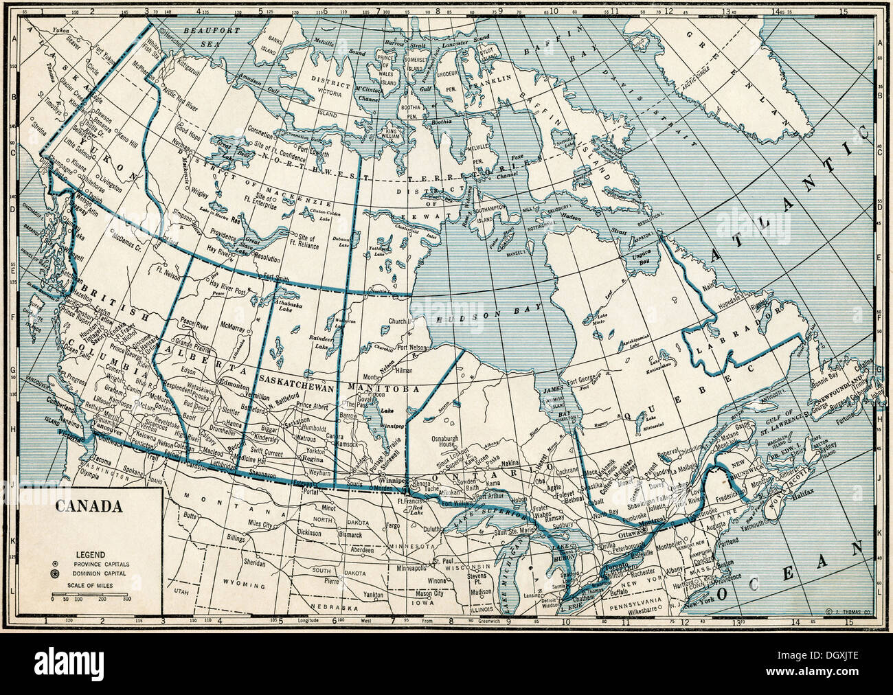 Old Map Of Canada 1930 S Stock Photo 62051150 Alamy