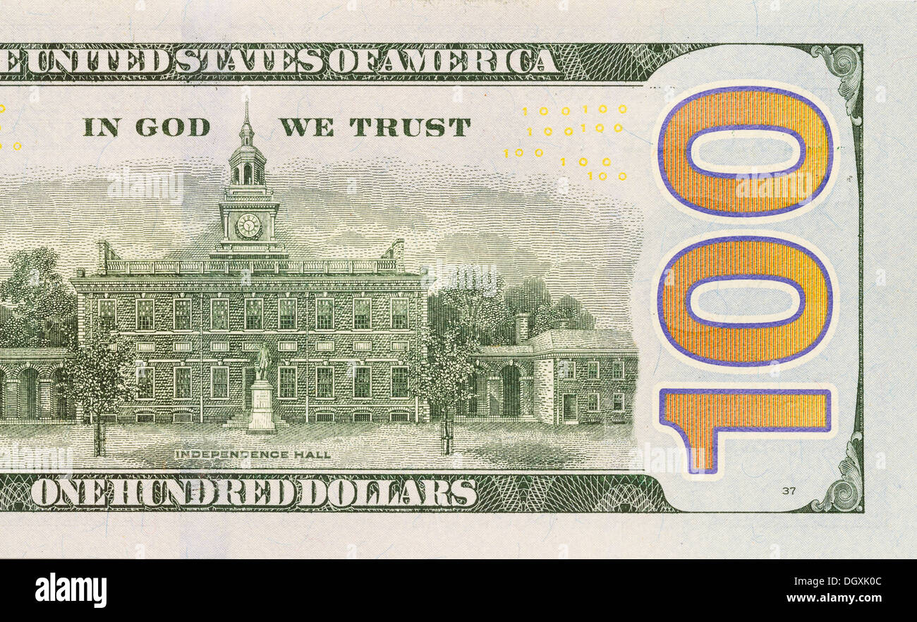Back Right Half of the Newly Designed U.S. Currency One Hundred Dollar Bill. - Stock Image