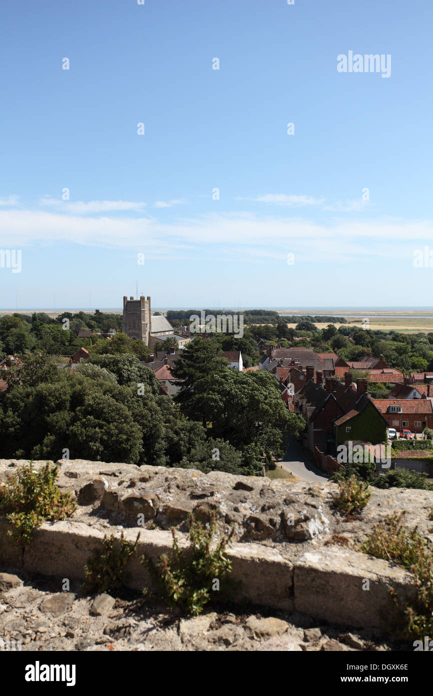 View of Orford village and St Batholomew's church from the top of Orford castle, Suffolk - Stock Image