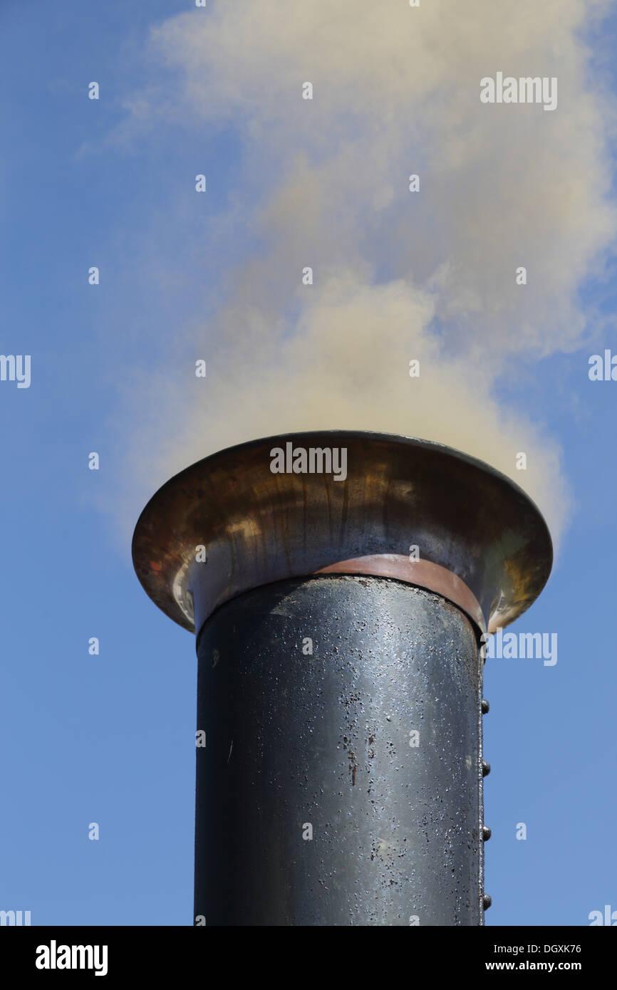 Steam Engine; Chimney; Camborne; Cornwall - Stock Image