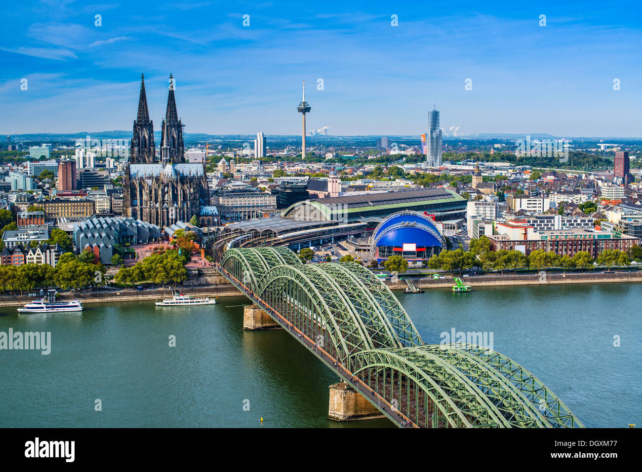 Cologne, Germany aerial view over the Rhine River. Stock Photo