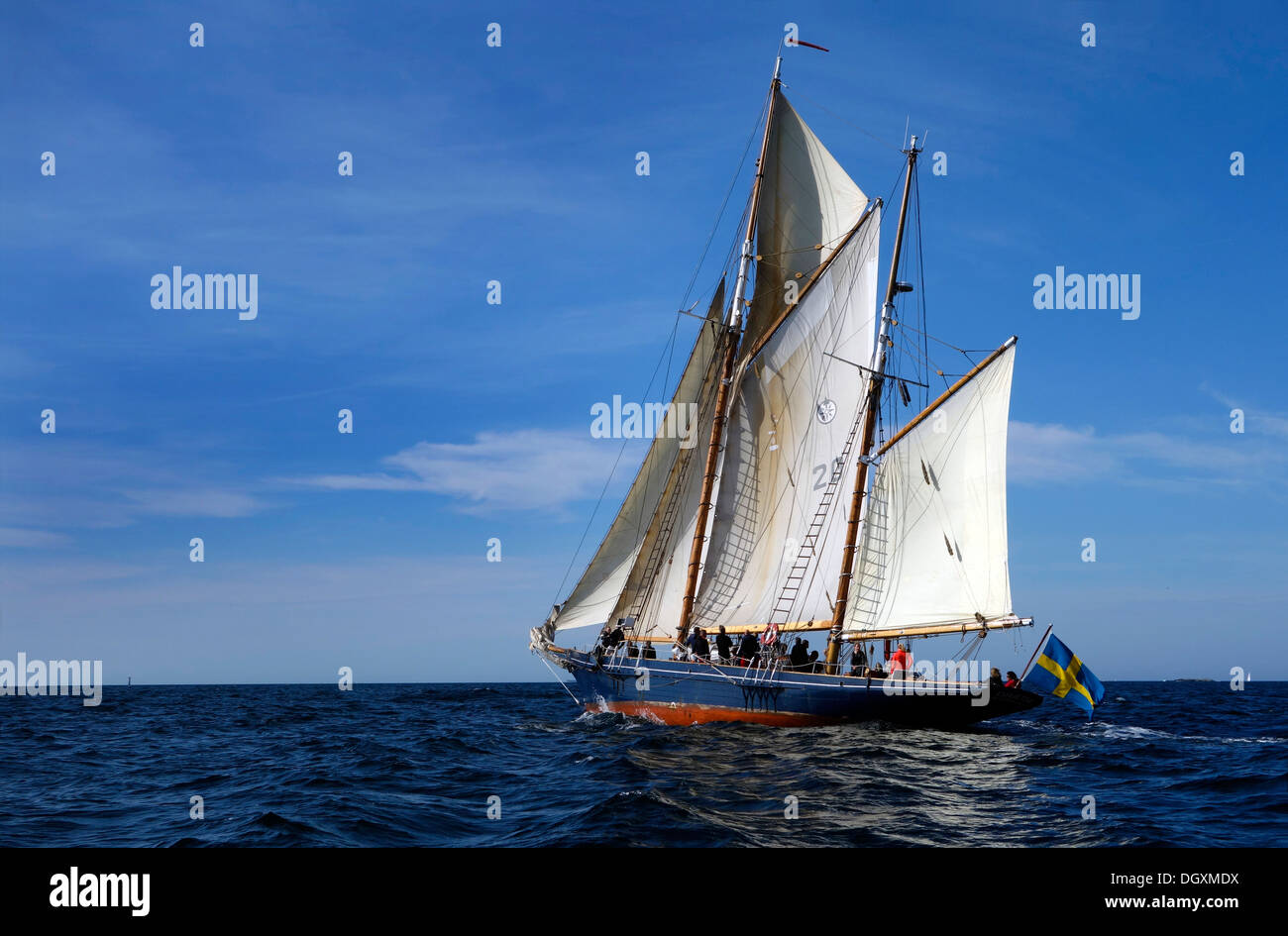 A double-gaff ketch under sail. Stock Photo