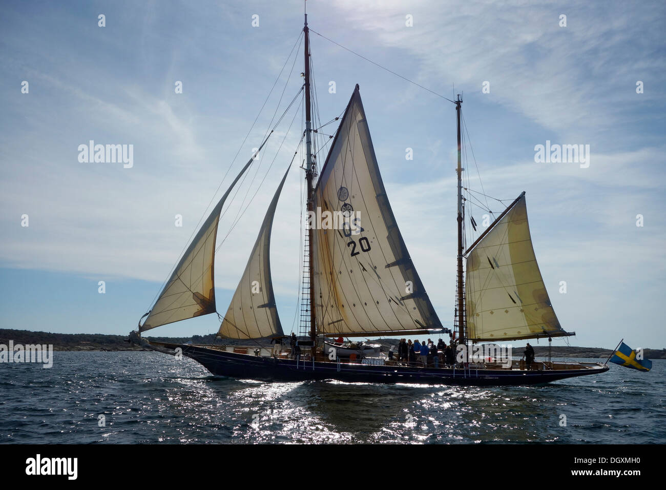A double-gaff ketch under sail. - Stock Image
