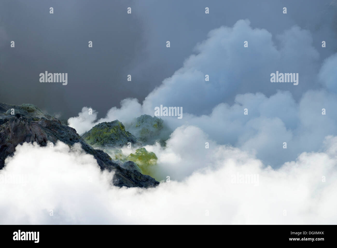 Fumaroles, geothermal active region, Kawayu Onsen, Akan-Nationalpark, Hokkaido, Japan - Stock Image