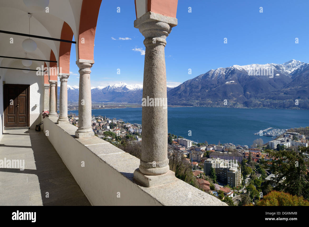 View from the terrace of the Sanctuary of the Madonna del Sasso or Our Lady of the Rock over Locarno and Lake Maggiore, Orselina - Stock Image