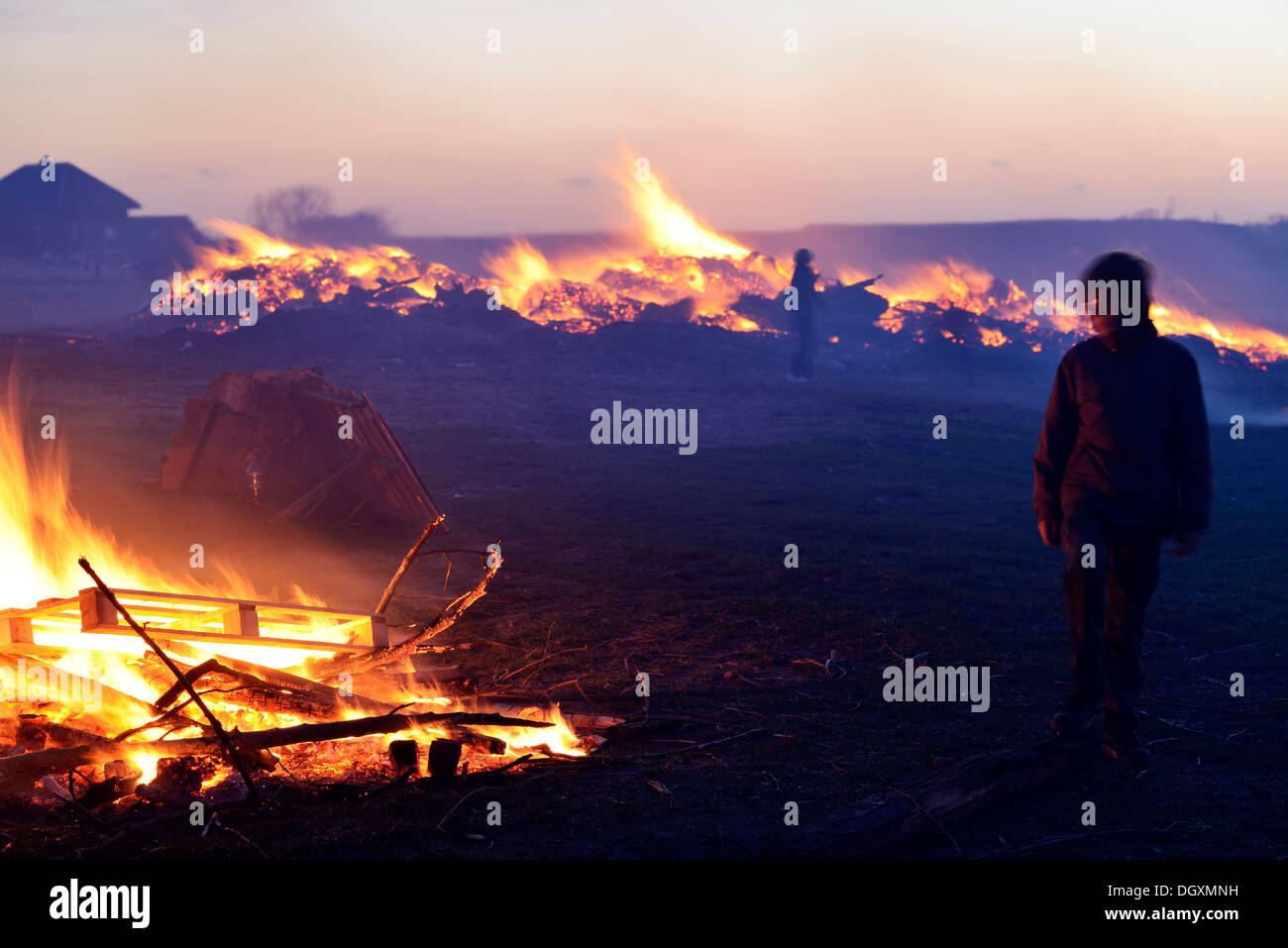 'May-blaze' bonfire in celebration of spring and the beginning of light, also Meierblis in Dutch, Oudeschild, - Stock Image