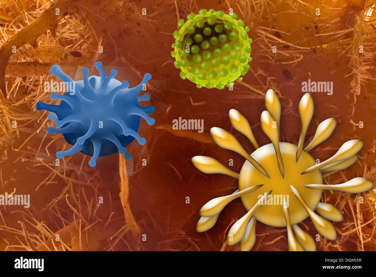 Viruses, illustration - Stock Image