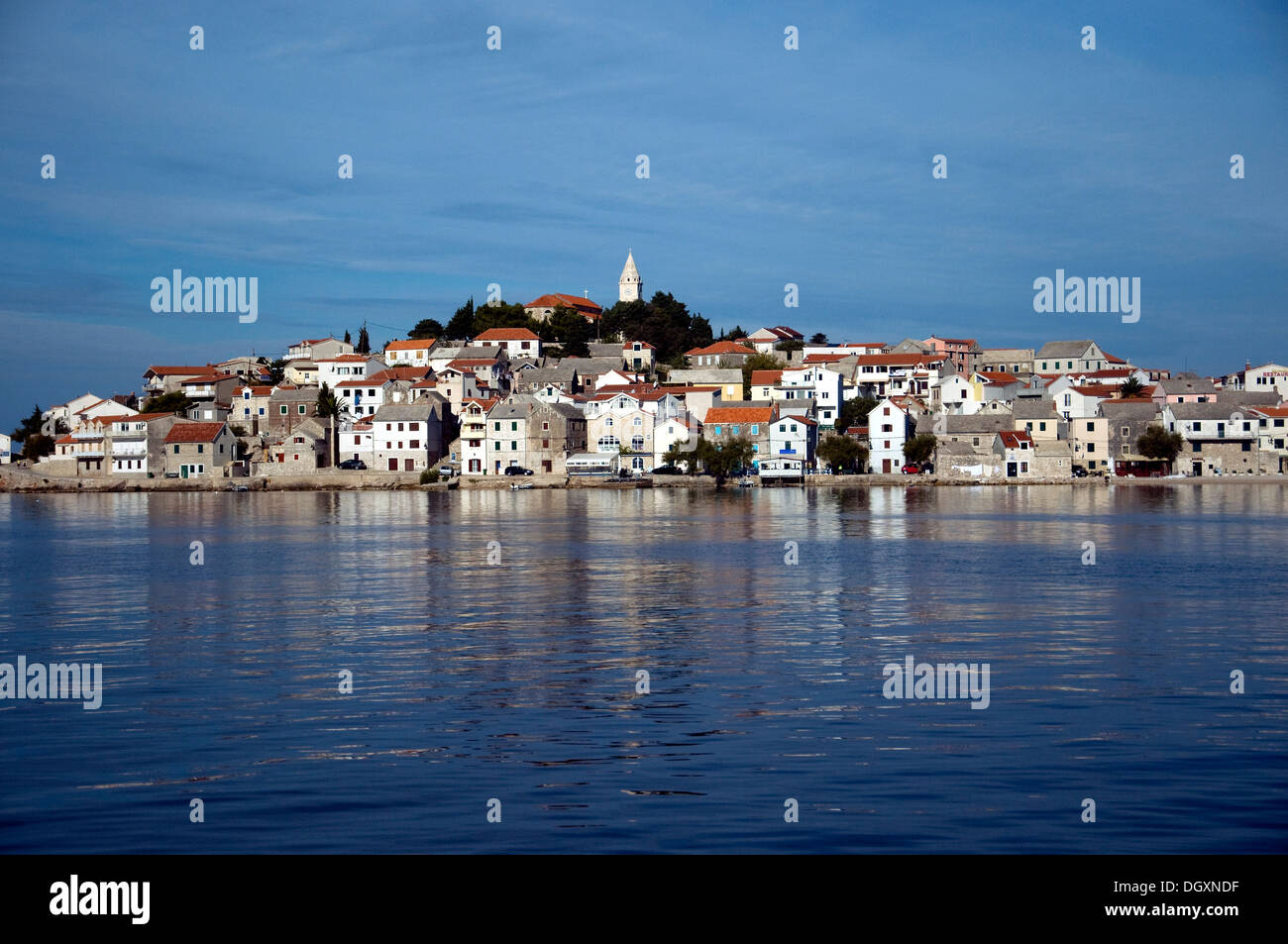 Primošten, a historic Croatian town was once an Adriatic island;  now, joined to the mainland, it keeps its island quality - Stock Image