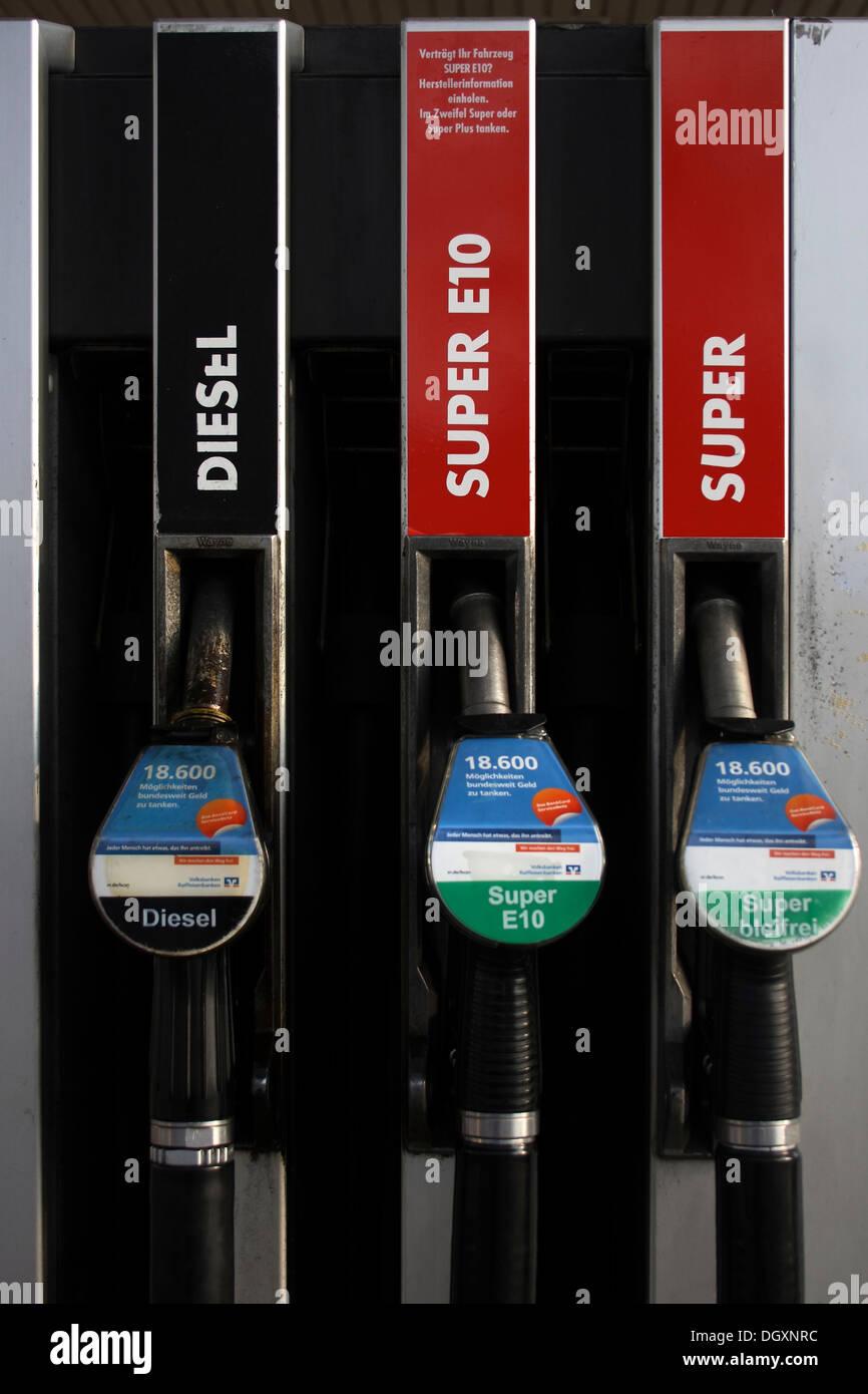 Nozzles at a filling pump Stock Photo