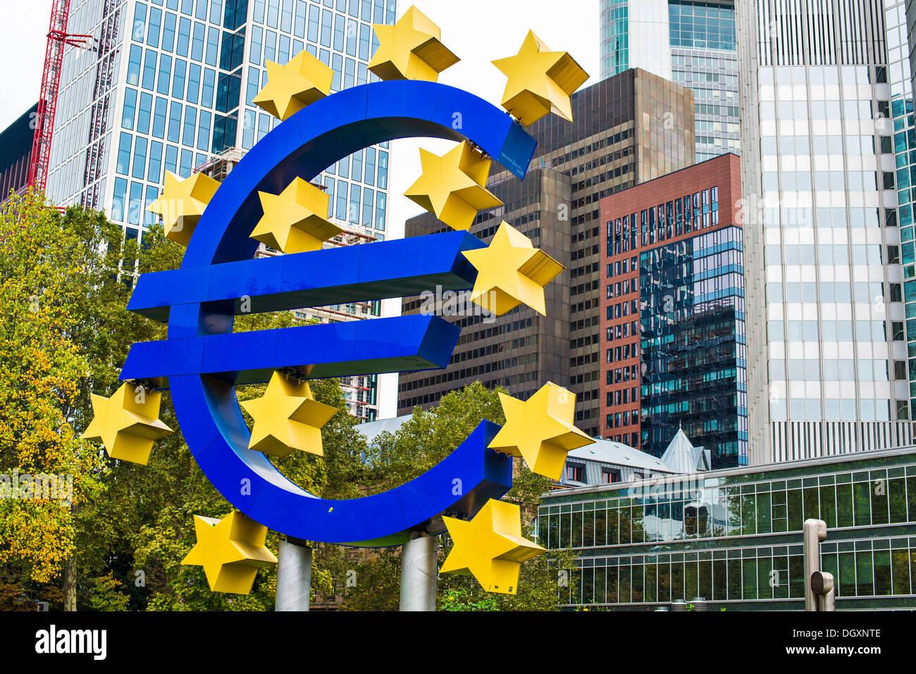 Euro sign in Frankfurt, Germany. - Stock Image