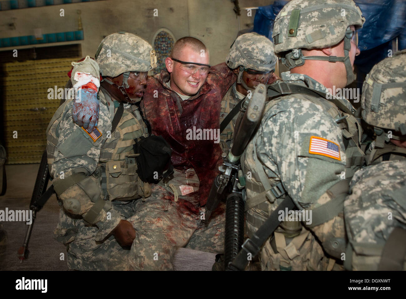 us army soldiers during combat medical simulation at basic combat