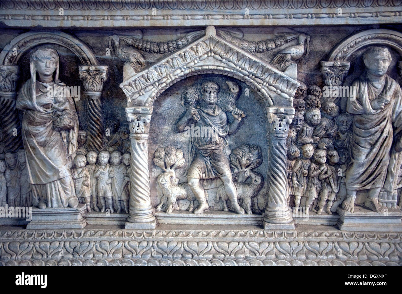 A carved sarcophagus, The Good Shepherd, in a rich largely Roman collection in the Archaeological Museum in Split, - Stock Image