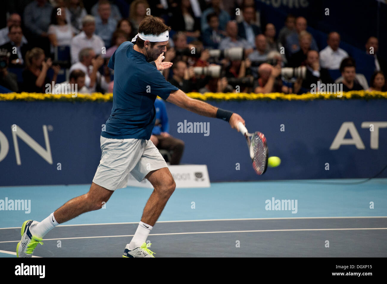 Basel, Switzerland. 27th Oct, 2013. J.M. Del Potro (ARG) hits a powerful forehand during the final of the Swiss Indoors at St. Jakobshalle on Sunday. Photo: Miroslav Dakov/ Alamy Live News - Stock Image